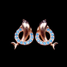 China Double Dolphin Shape 925 Silver Earrings For Anniversary , Engagement , Gift factory
