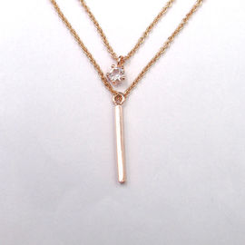 China Modern Design 925 Silver Necklace Double Chain With Rose Gold Plating factory