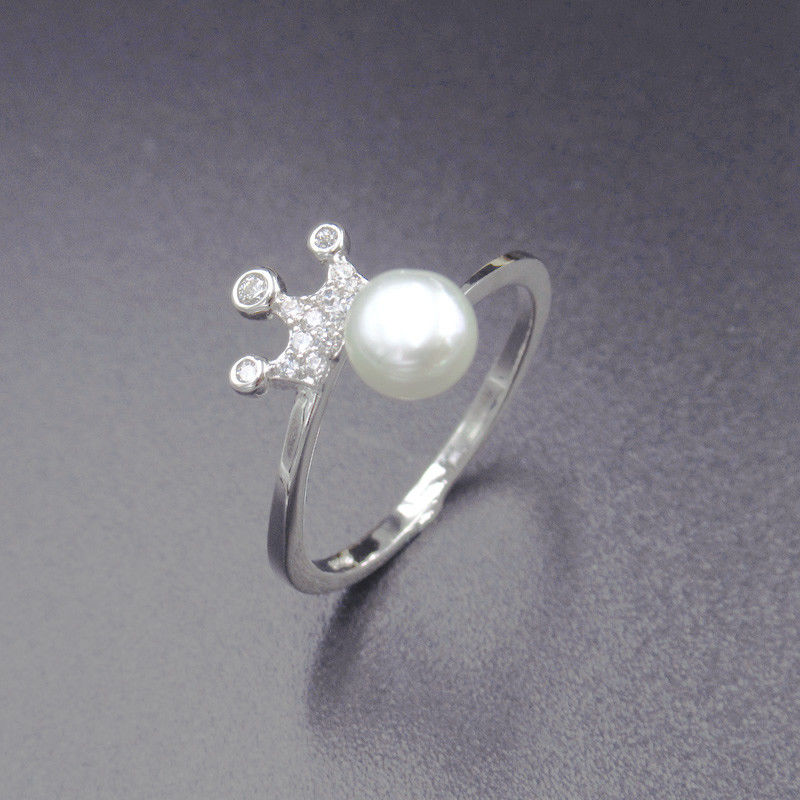 Imperial Crown Shape Silver Pearl Ring / 925 Freshwater Pearl Ring Silver Jewelry supplier