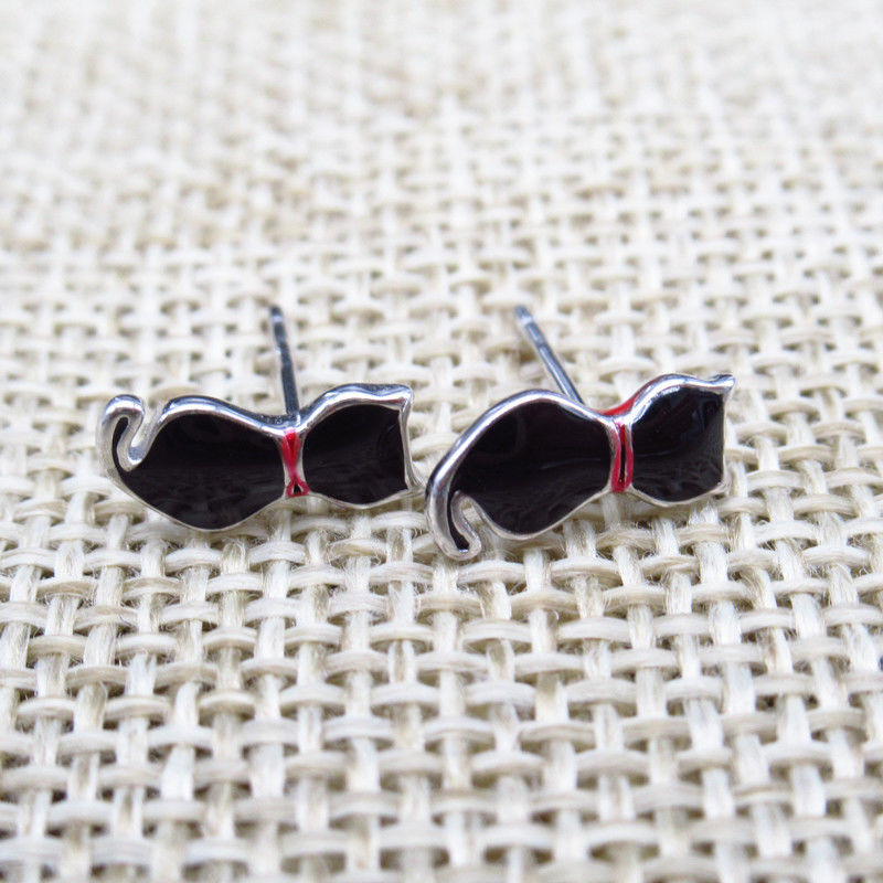 925 Children Silver Jewellery Cute Cat Ear Studs With Black Epoxy supplier