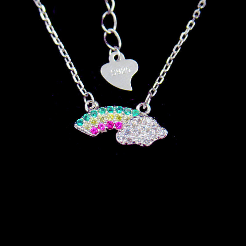 Cute Rainbow Shape Silver Cubic Zirconia Necklace 925 Jewelry For Baby supplier