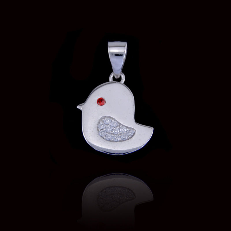 Red Stone Children Silver Jewellery Eye Cute Chick Shape Pendant For Little Girl / Boy supplier