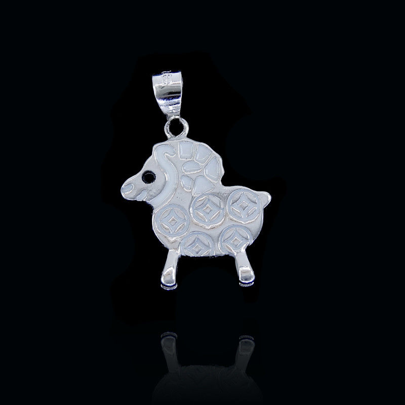 Cute Children Silver Jewellery / Chinese Culture Silver Sheep Pendant For Girls supplier