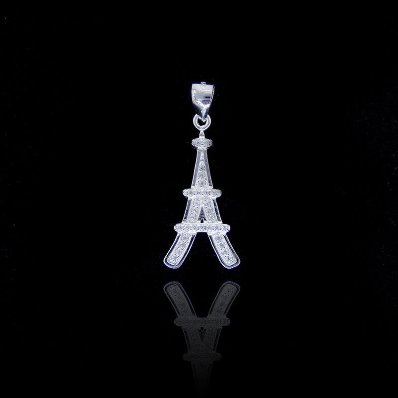 Sample AAA Silver Cubic Zirconia Pendant Jewelry With Eiffel Tower supplier