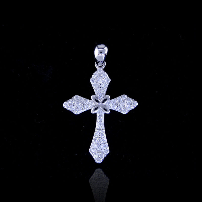 Luxury 925 Sterling Silver Cross Pendant Zircon Stone Italy Style For Christians supplier