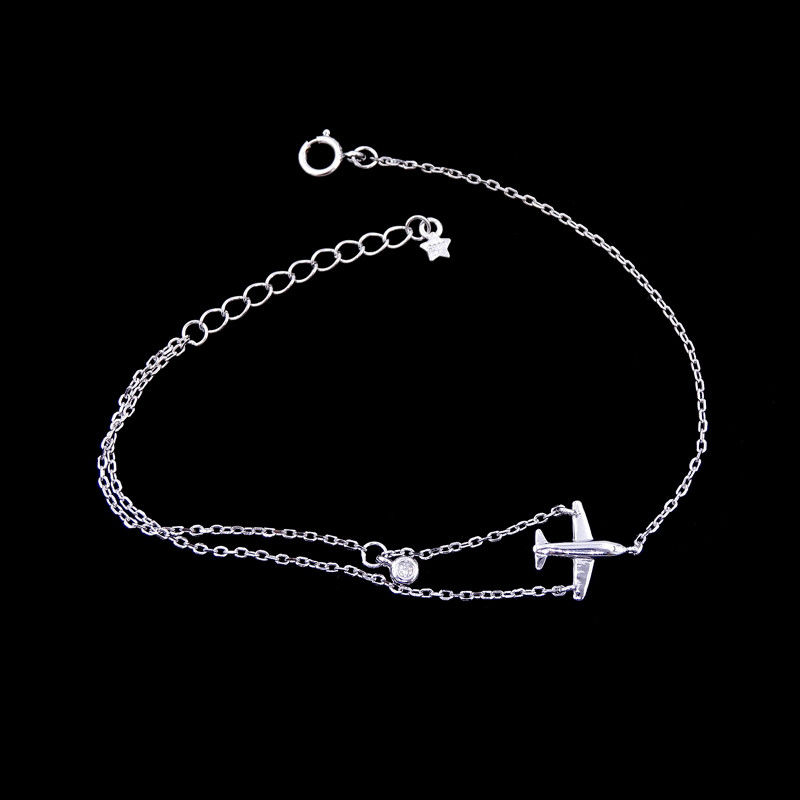 Pure 925 Silver Cubic Zirconia Bracelet Aircraft Plain Design For The Younger supplier