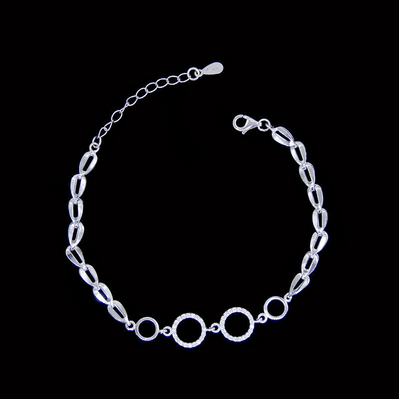 Simple S925 Silver Charm Bracelet Round Style / Customized Silver Chain Bracelet supplier