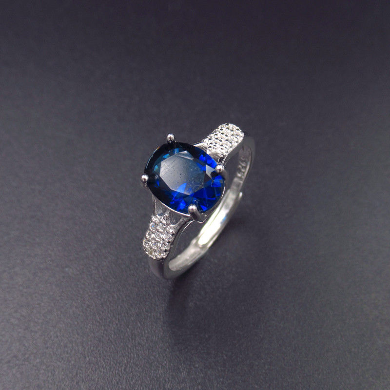 Real Silver Cubic Zirconia Rings Stores / Ladies Blue Gemstone Rings supplier