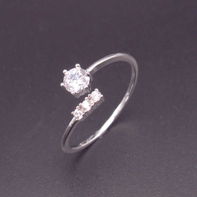 Free Opening Size Silver Cubic Zirconia Rings 925 Sterling Silver Blank Design supplier