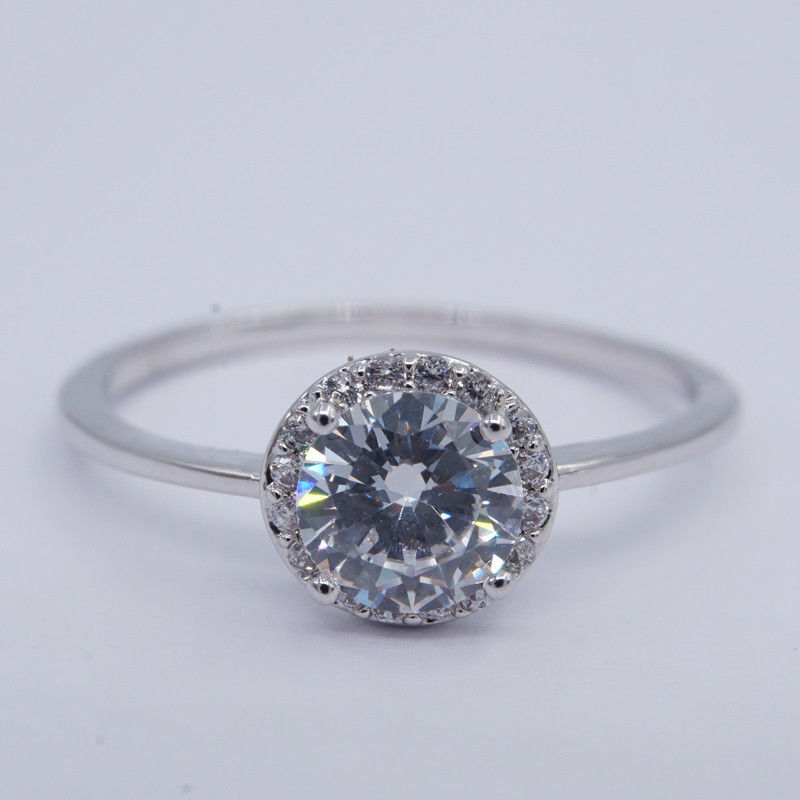 Round Big Cubic Zirconia Rings / Thinner Pure 925 Sterling Silver Solitaire Ring supplier