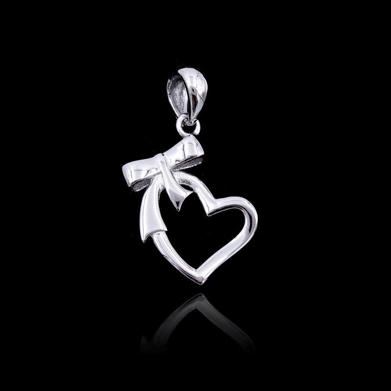 Ribbon Bow Knot Plain Silver Pendant Pure 925 With Heart Shape supplier