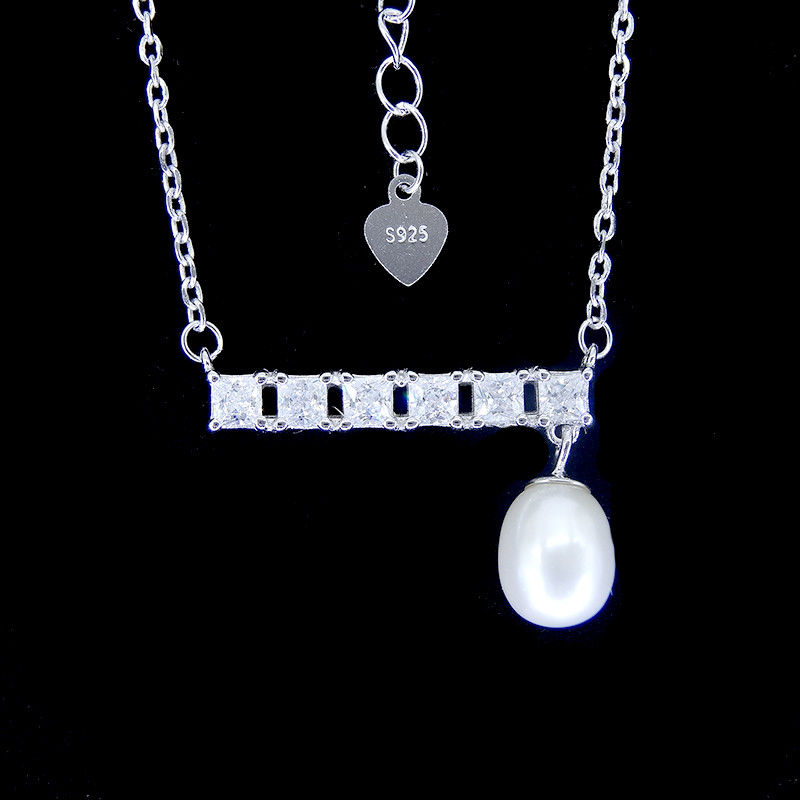 Bar Shape Freshwater Pearl Pendant Necklace Pure 925 Silver Chandelier supplier