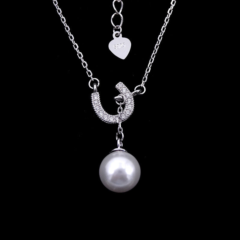 Lucky Silver Pearl Necklace Pure 925 With Horseshoe U Shape Items supplier