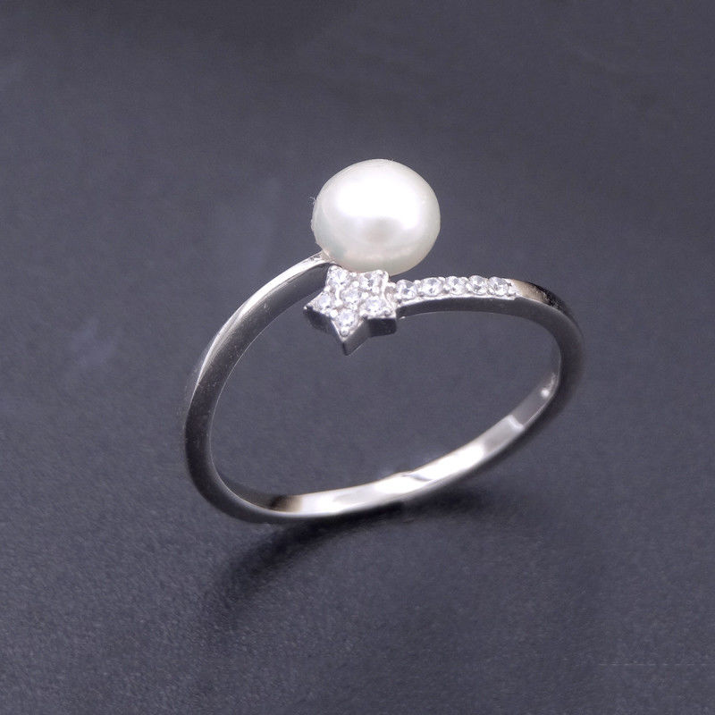 Mirror Polished Silver Pearl Ring 925 Adjustable Band With Little Star Design supplier