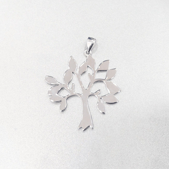 Life Tree Nature Style Plain Silver Pendant For Engagement / Wedding