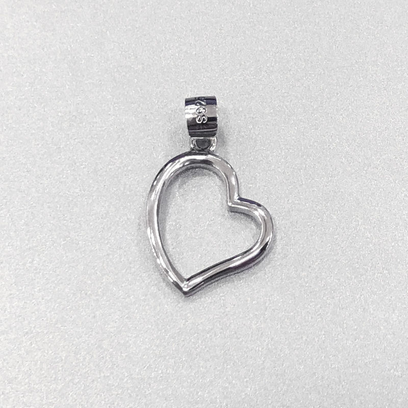 Wedding Sterling Silver Heart Pendant / Solid Silver Pendant Without Stone supplier
