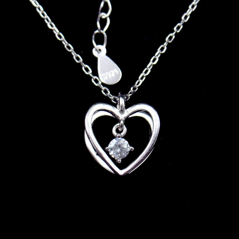 3D Heart Shaped Necklace Cross Chain And Hanging Zircon Shining Stone Sterling Silver supplier