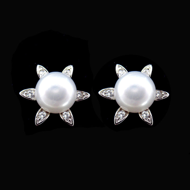 Star Shape Real Natural Freshwater Pearl Silver 925 Earrings Korean Style supplier