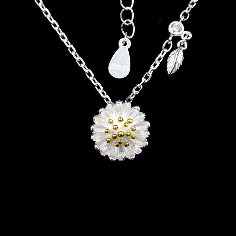 Romantic Cute Accessory Silver Cubic Zirconia Necklace For Girls / Silver 925 Daisy Chain Necklace With Leaves supplier