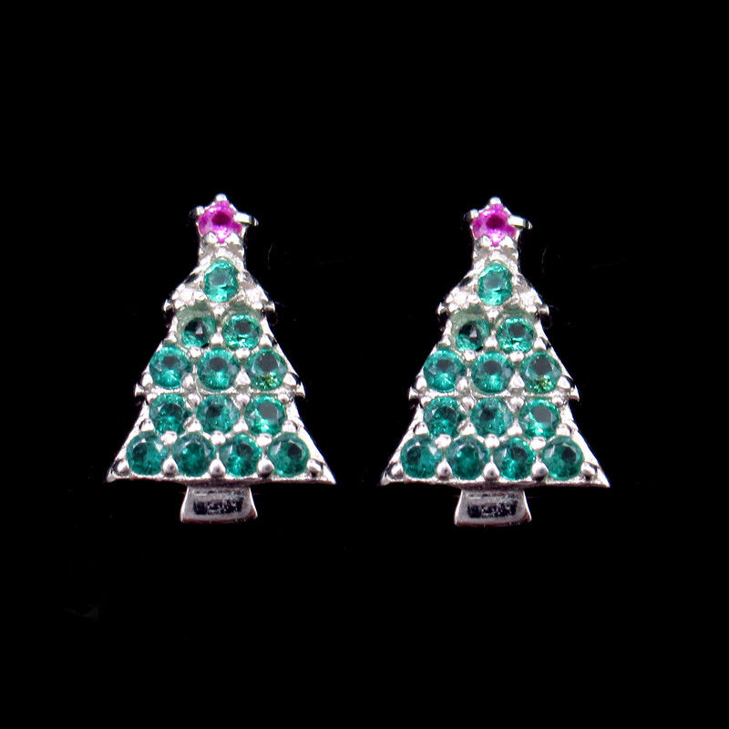 Christmas Holiday Gift 925 Sterling Silver Jewelry / Tree Colot Cz Green And Pink Earrings supplier