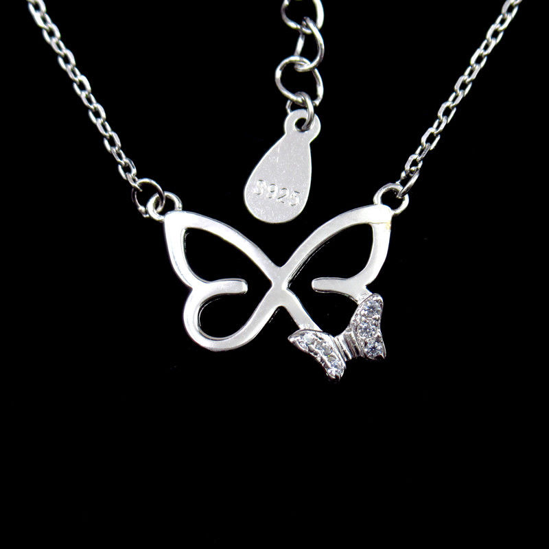 Engagement Silver Butterfly Necklace / CZ Stone Anniversary Gift Necklace supplier