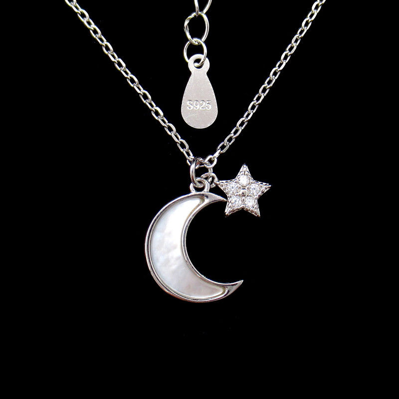 Fashionable Base 925 Silver Necklace With Crescent Shape Mirror Polished supplier
