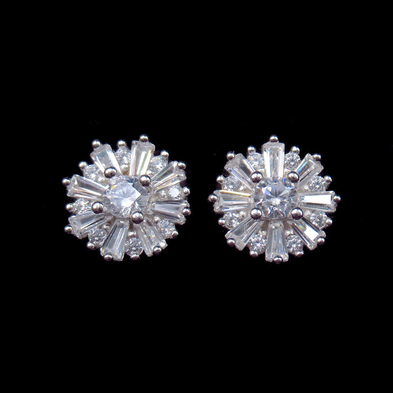 Anniversary Small 925 Silver Earrings With Five Pointed Flower Shape supplier