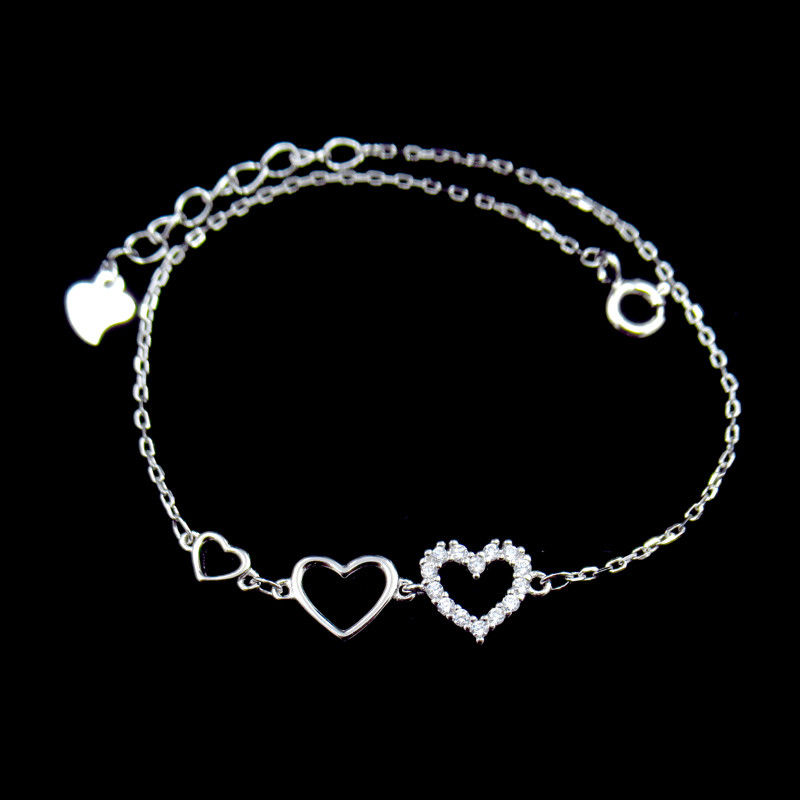 Fashion Design 925 Silver Jewelry Cubic Zirconia Bracelet With Heart