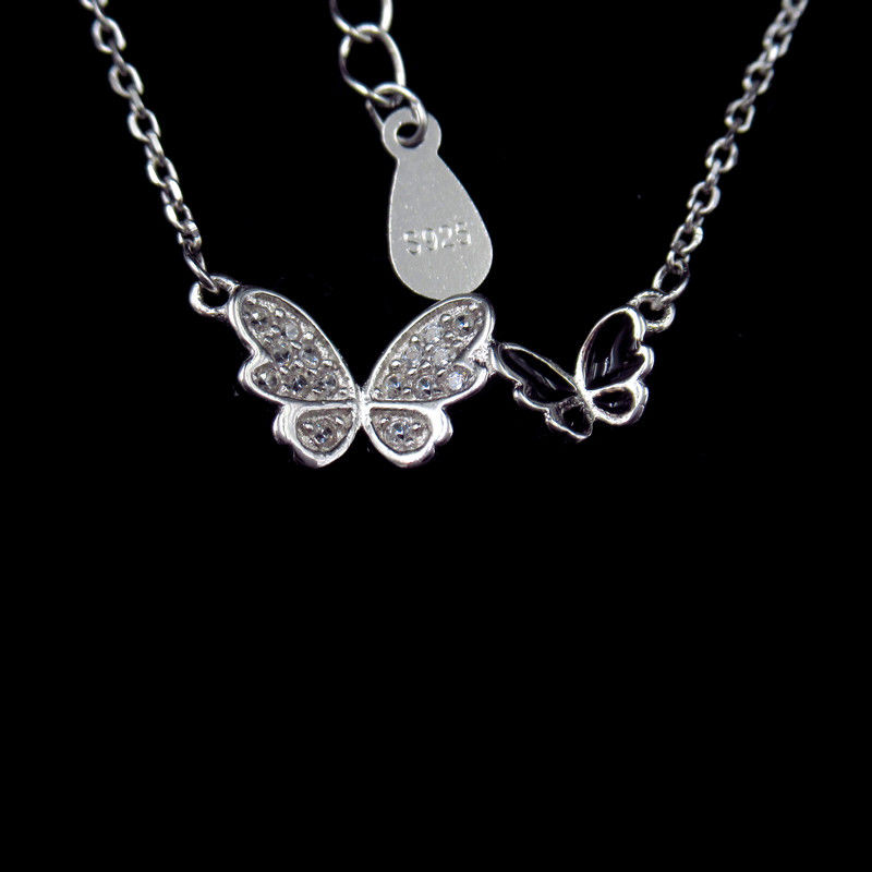 Butterfly 925 Sterling Silver Curb Chain , Cute Cubic Zirconia Drop Necklace supplier
