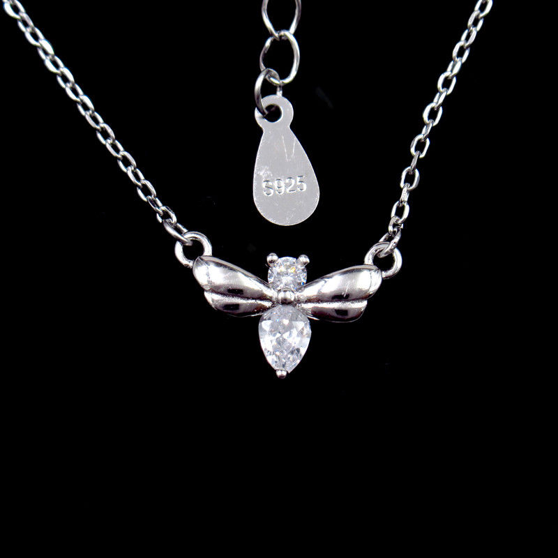Little Bee Silver Cubic Zirconia Necklace With Rhodium / 18K Gold Plating supplier