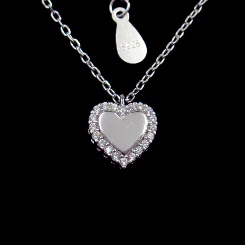 OEM Sterling Silver Pendant Necklace / Cubic Zirconia Heart Necklace